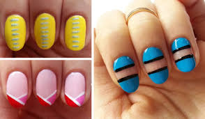 easy beginner nail art 3 line designs using nail striper youtube
