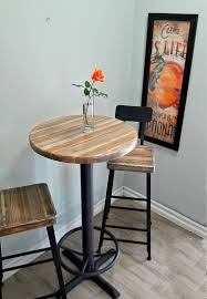 bar height table base with foot ring round bar height pub table reclaimed wood top pedestal base with