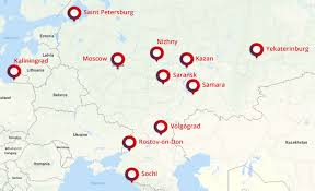 russia football map russia 2018 fifa world cup by jet privatefly
