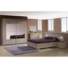 ensemble chambre à coucher contemporaine coloris mara avec armoire