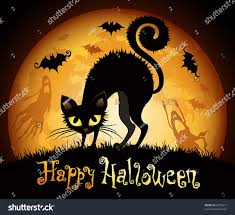 halloween illustration black cat on moon stock vector 86709673