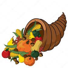 clip illustration of a thanksgiving cornucopia of fall