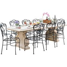 roman stone 2600 table with 8 manette black chairs package