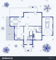 home design exterior and interior house blueprint exterior interior vector illustration stock vector