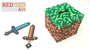 minecraft diy craft perler bead moneybox with captions youtube