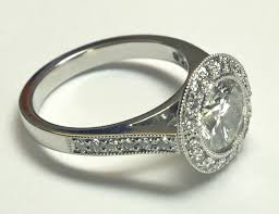 platinum pave rings images Platinum solitaire with surround diamond pav traditional png