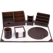 Leather Desk Accessories Uk 7 Brown Faux Leather Osco Desk Set Co Uk Office