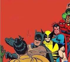 Meme Generator Batman Slap - batman slapping robin with superheroes lined up blank template