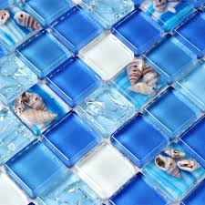 blue glass kitchen backsplash sea shell blue glass mosaic tile kitchen backsplash bathroom wall