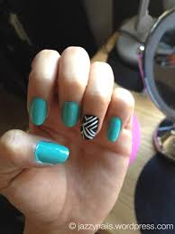 turquoise nails with a tribal ring finger jazzynails