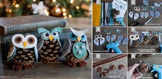 diy felt pinecone owl ornaments home design garden