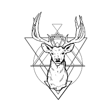 tattoo geometric outline good outline deer head on geometric background tattoo design