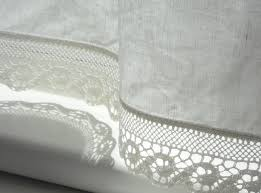 Lace Trim Curtains Bathroom Window Curtains With Wave Lace Edge Trim In