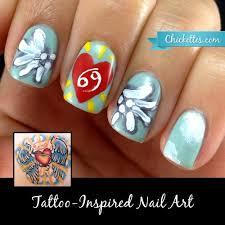 tattoo inspired nail art u2013 heart u0026 angel wings u2013 chickettes soak