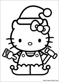 Coloriage Hello Kitty porte Le Bonnet de Noel dessin gratuit à imprimer
