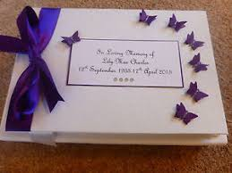 purple guest book personalised condolence bereavement memorial guest book purple