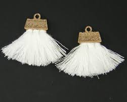 earring dangles white tassel earring findings brush earring dangles