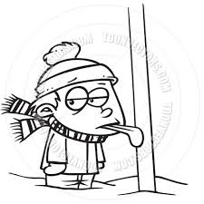 Cartoon Tongue Frozen To Flagpole Black And White Line Art By Tattle Tongue Coloring Page