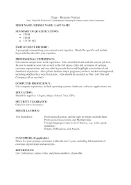 Employment History Resume Example Of Resume Format For Job Resume Templates