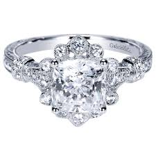 Halo Wedding Rings by Gabriel U0026 Co Engagement Rings Victorian Vintage Flare 14k