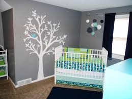 welcome your baby with these baby room ideas midcityeast appealing white tree wall mural with blue bird completing grey baby room interior