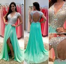 discount mint green open back prom dress 2017 mint green open