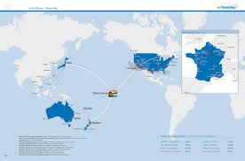 French Polynesia Map Route Map Air Tahiti Nui