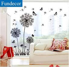 fundecor sale diy black dandelion flower butterfly wall