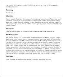Education For Resume Examples by Professional Outdoor Education Teacher Templates To Showcase Your