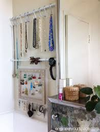 small bathroom storage using tension rods
