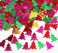 gold pink red green christmas tree foil confetti table scatter
