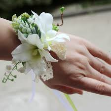 white orchid corsage 6pce lot made wedding wrist corsage bridesmaid