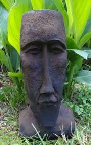 iron oxide finish on a concrete easter island moai statue