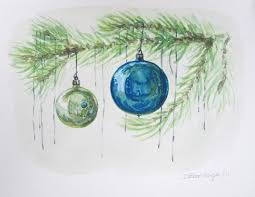 watercolour wednesday blue ornaments tree
