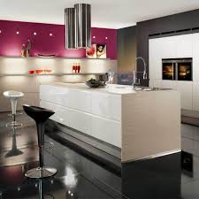 white galley kitchen design grey wall paint wall mounted range