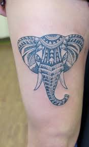 geometric henna pattern elephant thigh irish street tattoo