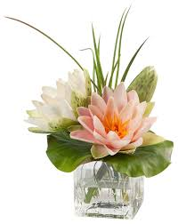 artificial flower arrangements lotus blossom and pad silk flower arrangement traditional