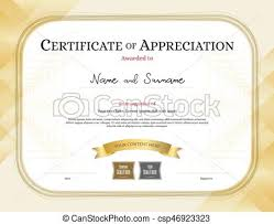 certificate of appreciation template with award ribbon gold