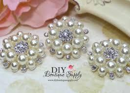 headband supplies 3 pcs 35mm pearl rhinestone brooch embellishment shoe sash