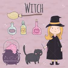 halloween cute clipart halloween cute illustration of a witch witch broom cauldron