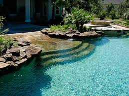 A Beach Style Walk In Pool Is Gorgeous And Makes Accessing It - Backyard beach design