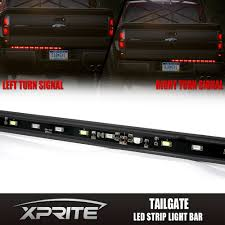 Red Led Light Bars by Truck Tailgate 60