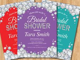 bridal shower invitation red pink purple teal any color
