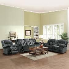 tribecca home mason modern gray microfiber 3 piece reclining