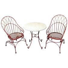 Wrought Iron Bistro Table And Chairs French Modern Red Wrought Iron Patio Set With Honeycomb Bistro