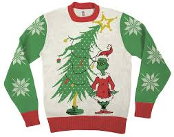 grinch christmas sweater dr seuss grinch as santa next to tree white