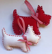 scottie dog christmas felt ornament set of 2 by marilous on etsy