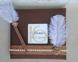 sweet 16 guest sign in book gatsby guest book etsy