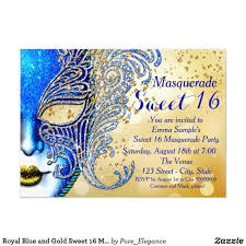 Sweet 16 Invitation Cards Royal Blue And Gold Sweet 16 Masquerade Party Masquerade Sweet