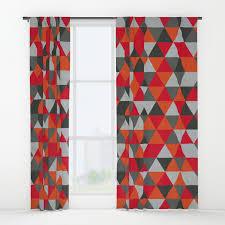 Geometric Orange Curtains Red And Grey Gray Geometric Triangle Pattern Window